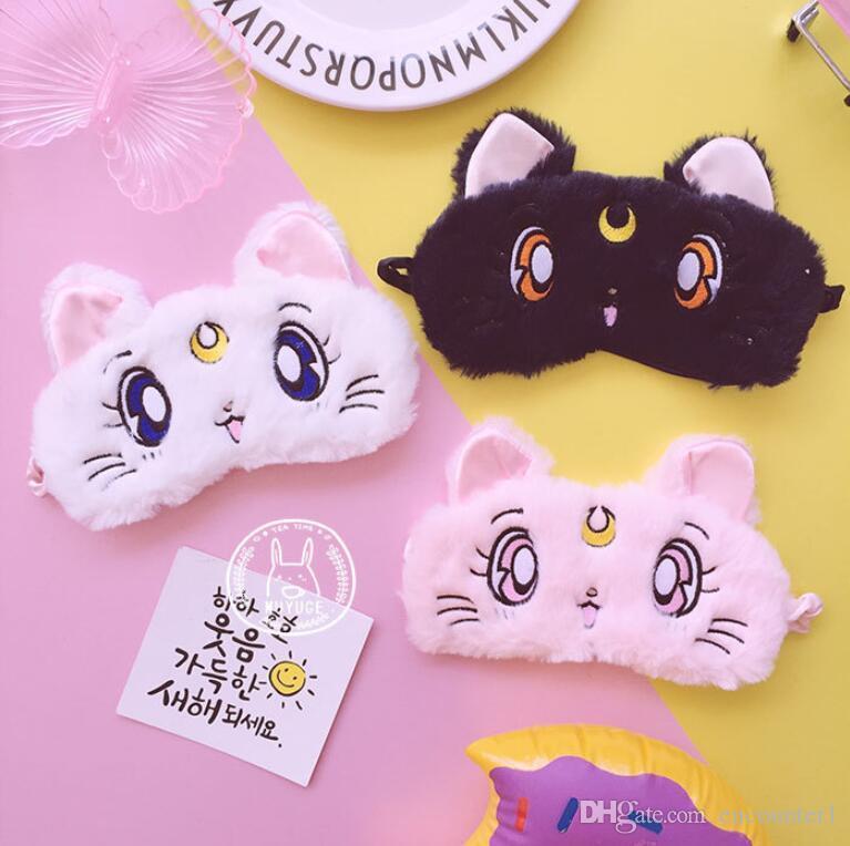 Cartoon Sailor Moon Wasser-Eis Mond-Katzen-Augen-Schablonen-Schlaf Breathstudenten Schatten Augenmaske Mädchen Augen-Abdeckung Schlafmaske