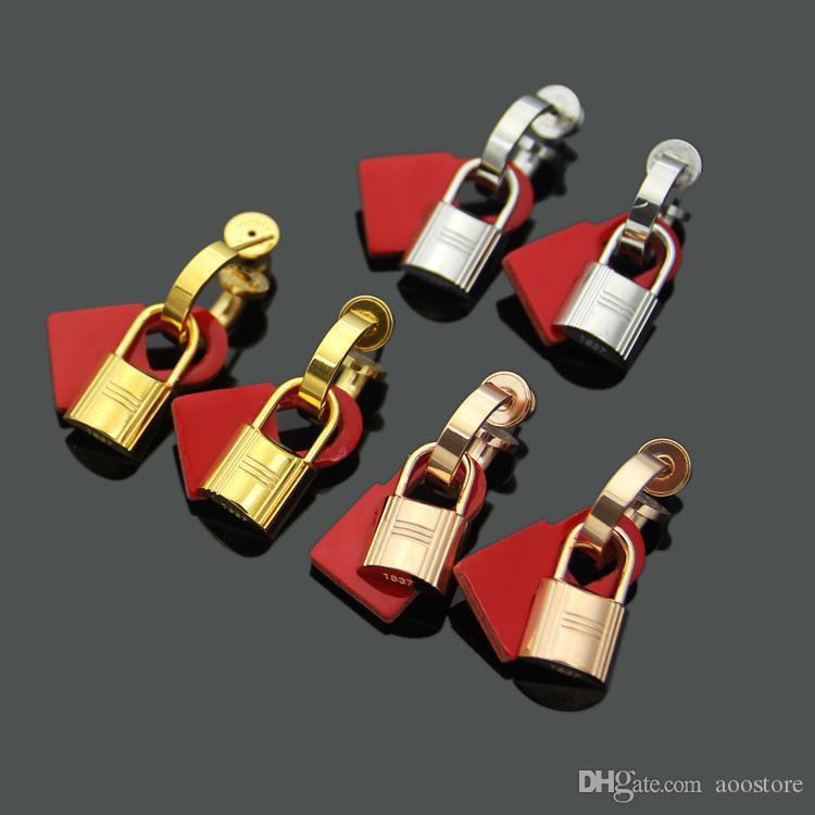 새로운 H 편지 잠금 귀걸이 스테인레스 스틸 숙녀 블랙 레드 오렌지 노란색 자물쇠 커플 연인 귀걸이 사랑의 보석