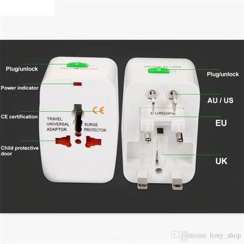 All in One Universal International Plug Adapet Worla Travel AC Power Charger Adapotor WIth US UK AU EU Converter Plug
