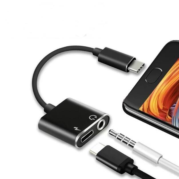 2 in1 Type-C a 3.5mm audio Adattatore jack per Huawei Aux Audio Caricabatterie Cuffie cavo di ricarica USB-C Convertitore caldo di vendita in metallo