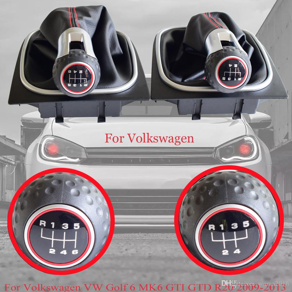 Gear Shift Knob Shifter For Volkswagen VW Golf 6 MK6 GTI GTD R20 2009-2013 5/6 Speed With Dust-proof Cover