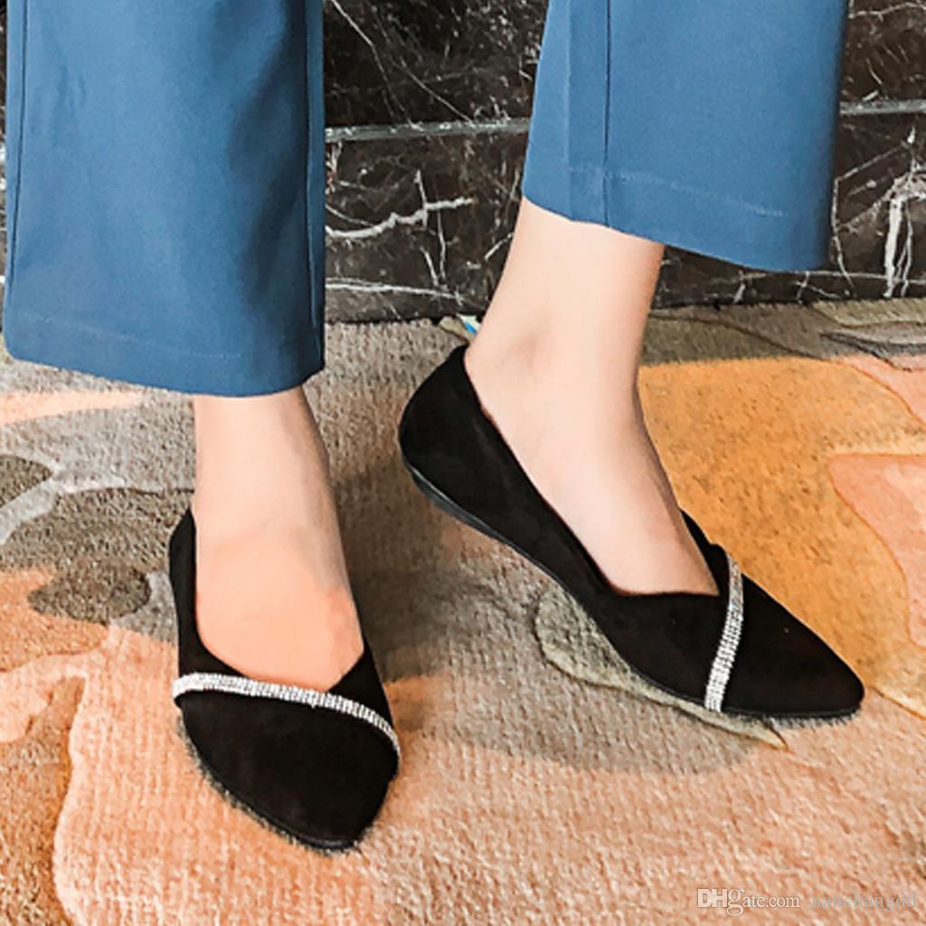 Shoes Rhinestone Slip 2019 Заостренные ножные туфли квартиры женщины повседневные женские мокасины на плоской плоский твердый PXNXK