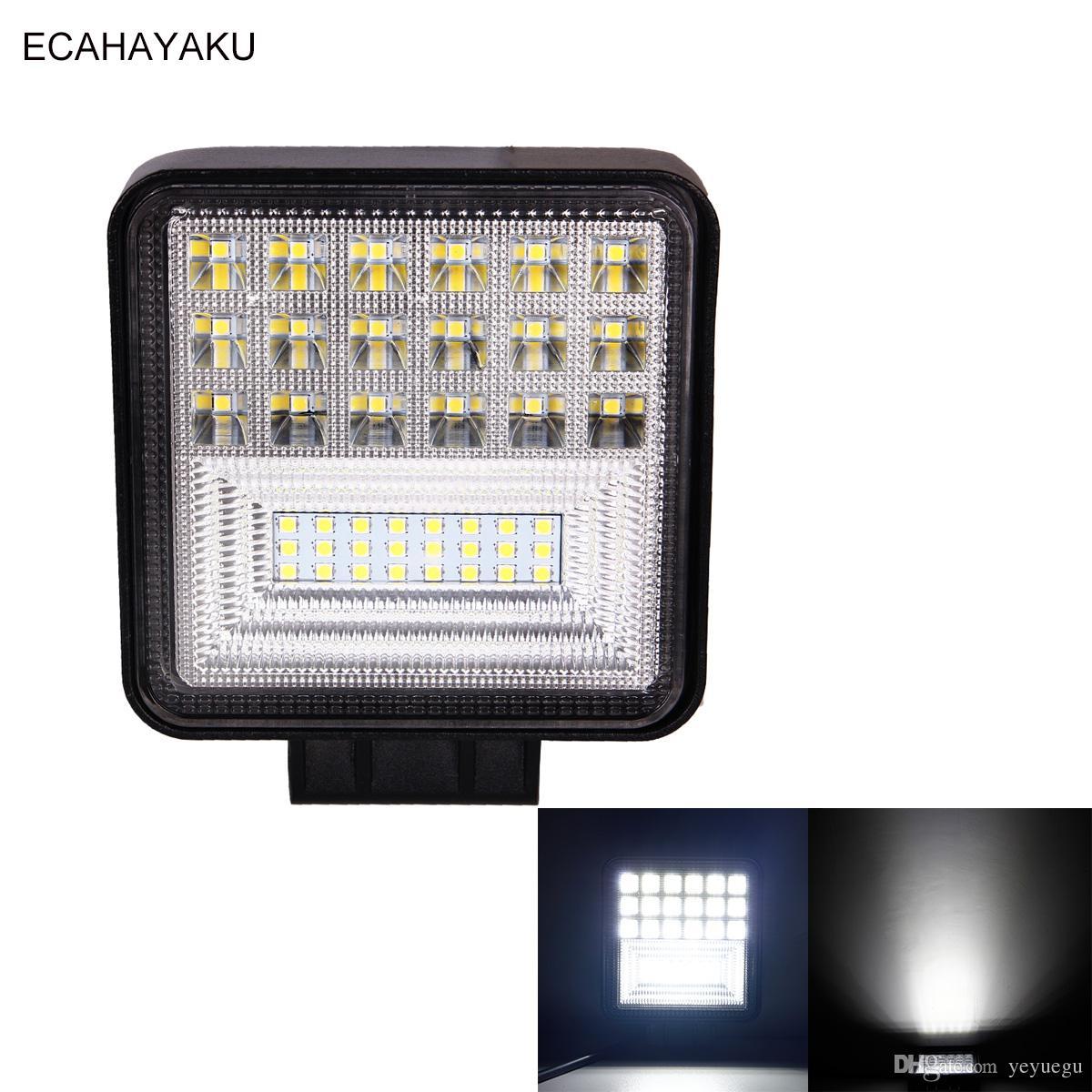 ECAHAYAKU 1Pcs 4inch High Power Car Led Work Lamp 126W 6000K White 12V 24V for OffRoad 4x4 Heavy-duty Truck Boat Jeep Hummer ATV