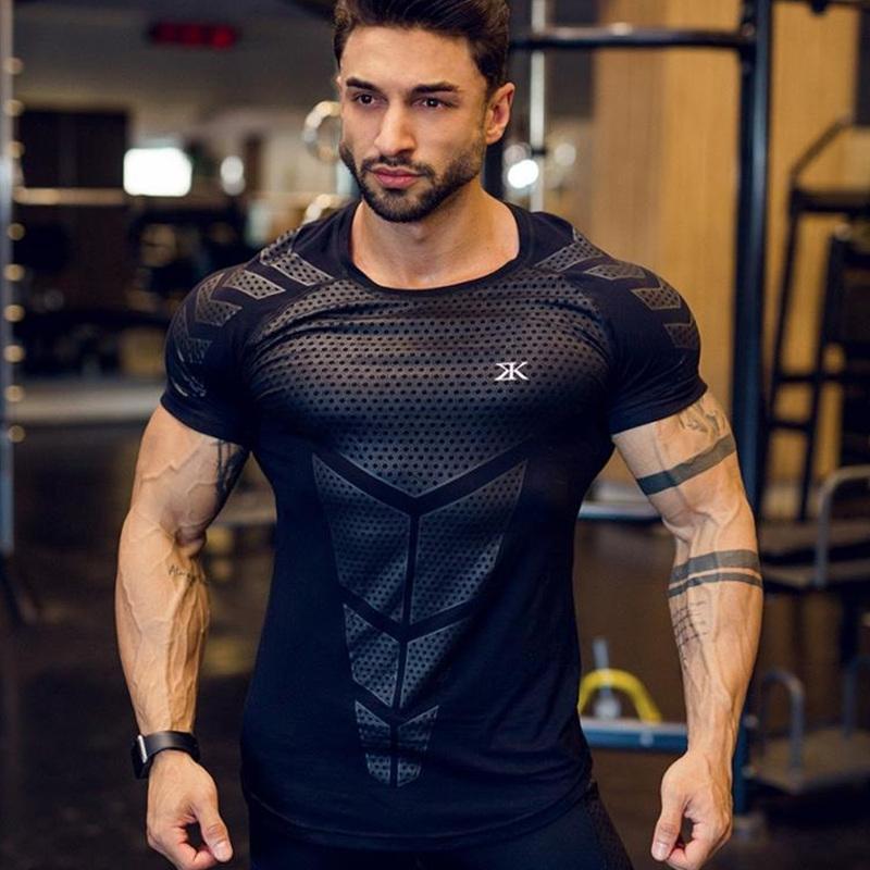 Compression Séchage rapide T-shirt Homme en cours Sport Skinny court T-shirt Homme Gym Fitness Bodybuilding Workout Noir Hauts Vêtements