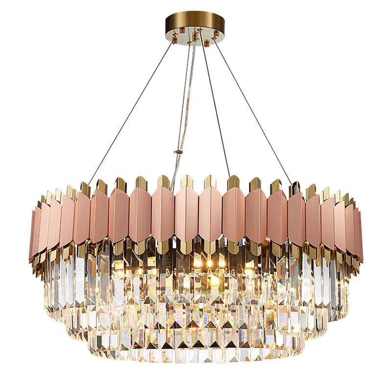 الحديث كريستال روز الذهب مستطيل الثريا الإضاءة لتناول الطعام نوم غرفة جولة الثريات غرفة المعيشة ضوء مصباح AC100-240V