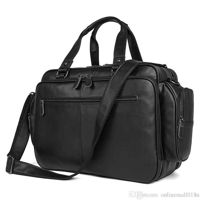 Big Large Capacity Chocolate Black Genuine Leather Men Travel Bags Messenger Bags 15.6'' Laptop Briefcase Portfolio