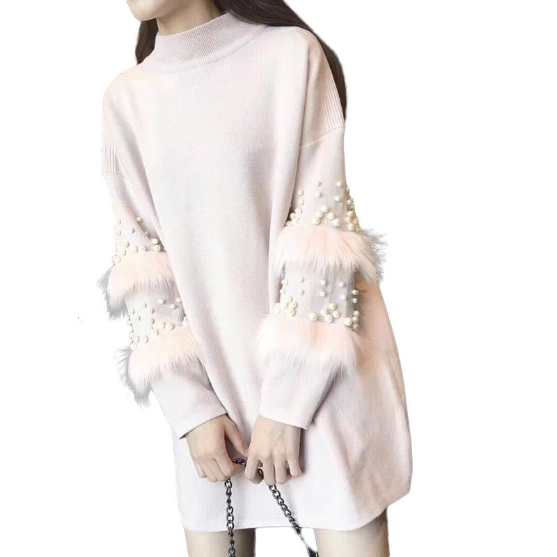 New Fashion Women Autumn Winter Knitted Pullovers Sweater Long Sleeve Wool Stitching Faux Rabbits Fur Beaded Sweater Dress