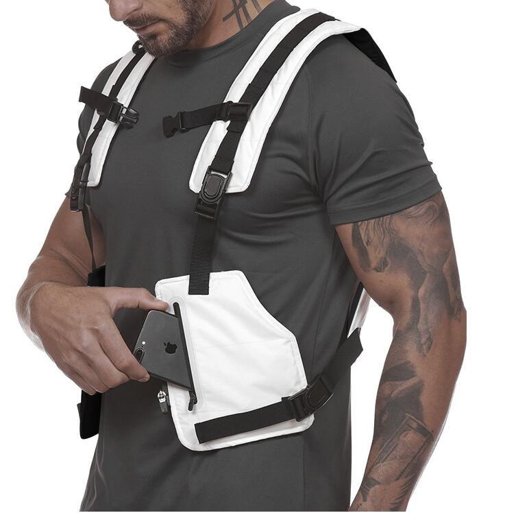 Streetwear maglia tattica degli uomini di Hip Hop Street Style Chest Rig Phone Bag Moda striscia riflettente Gilet con tasche Outdoor Sports Vest X7
