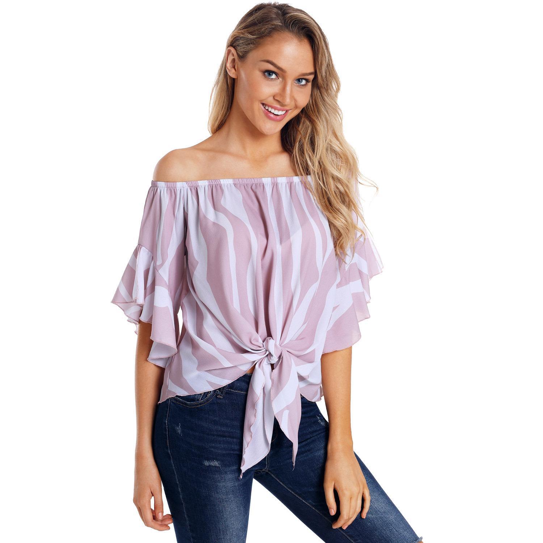 Verão Sexy Top Shirts Mulheres Pink Lady Off-ombro Partido NOVO Moda manga curta listrada Casual Streetwear