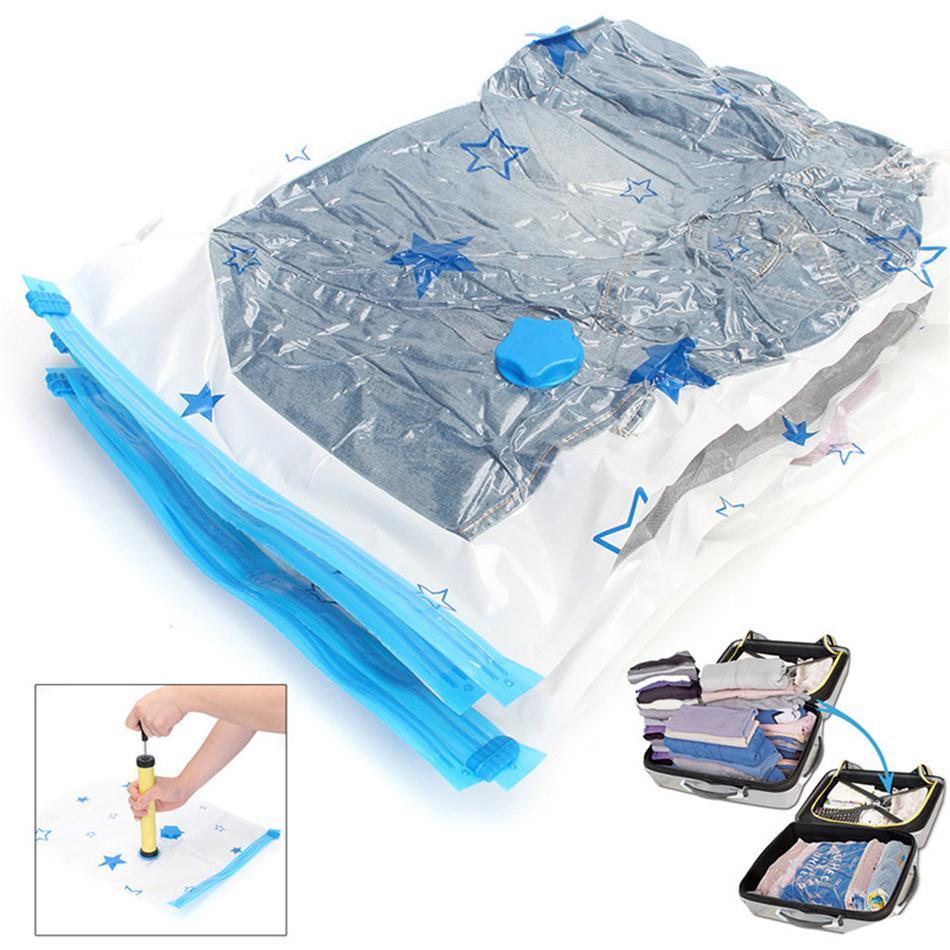 نجمة ختم فراغ ضغط حقيبة لحاف الملابس ضغط حقيبة الفضاء التوقف شفاف التخزين الحقيبة للسفر AAA45 الأساسية