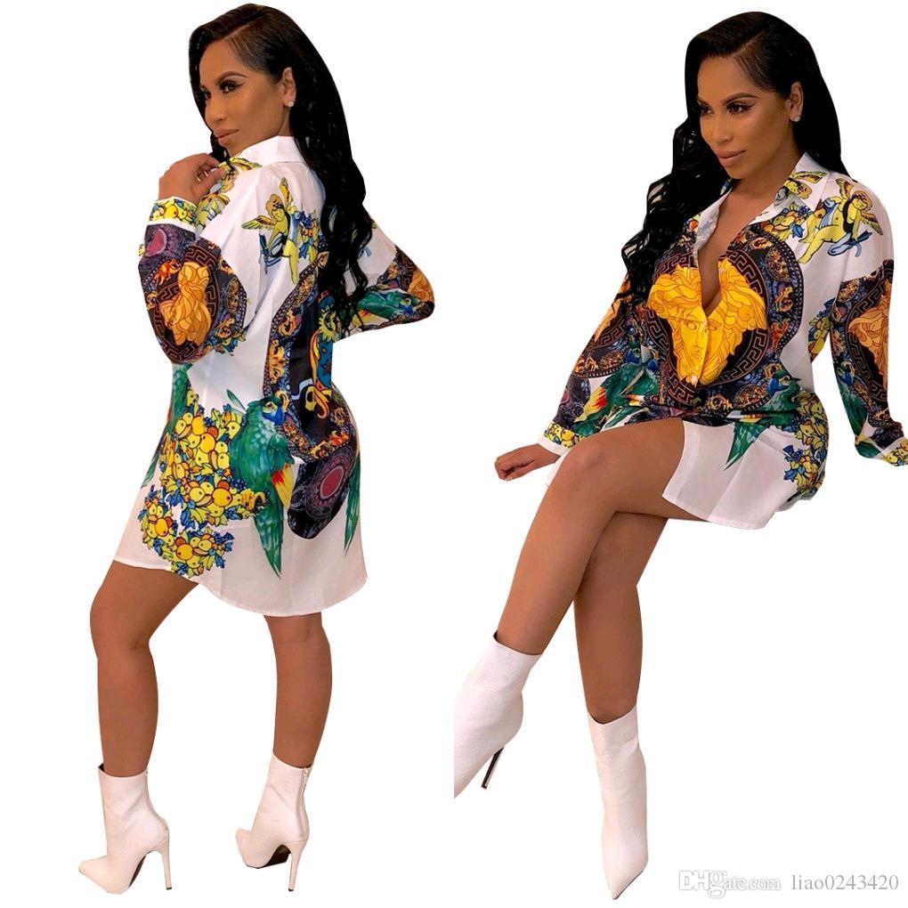 Свободный Корабль 2019 Женщин Сексуальный Воротник Отворотом Печатных Платья Рубашки Slim Fit Мини-Платье Vestidos Club Party Wear