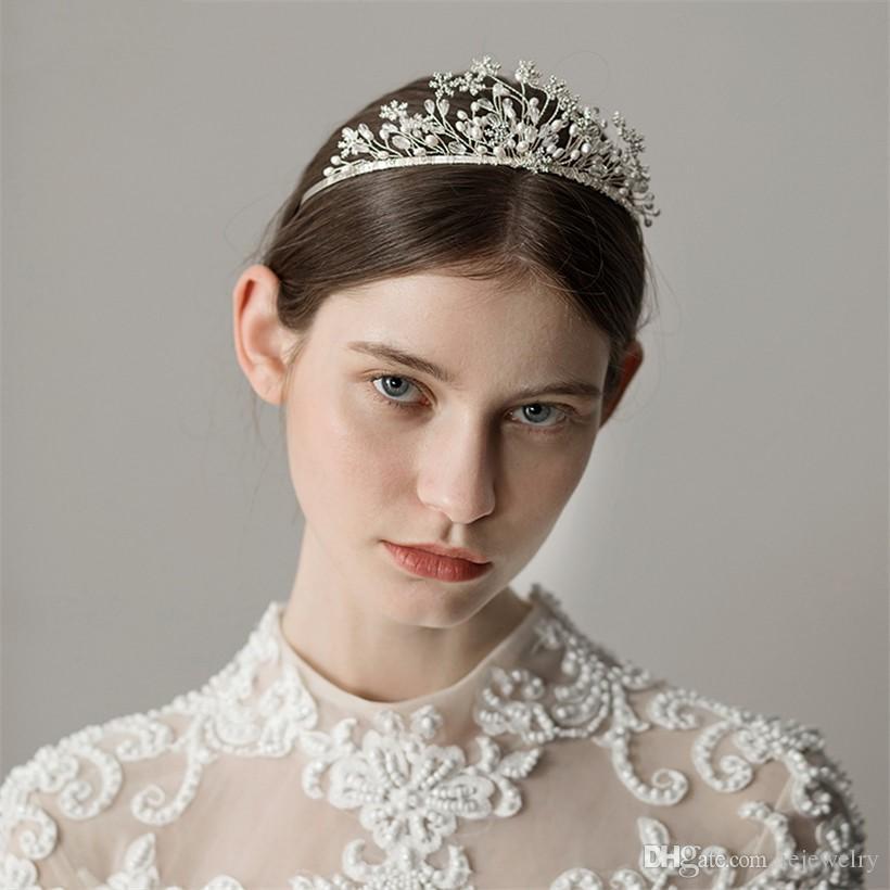 Vintage Wedding nuziale diadema della parte superiore perla fascia Silver Star capelli gioielli accessori per Banda Copricapo Principessa Queen strass