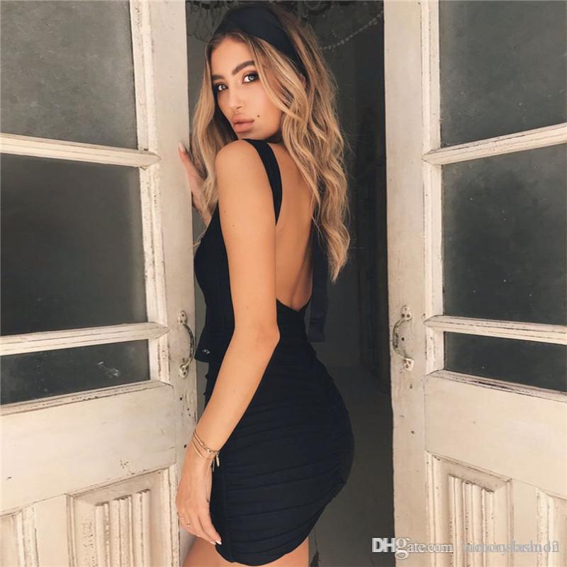 Seksi Backless Kadın Yaz Elbise Tasarımcı Pileli Kolsuz Donna BODYCON Elbise Moda Gece Kulübü Lady Bezi