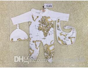 2020지도 인쇄 아기 소년 점프 슈트 3PCS는 장난 꾸러기 아기 모자 + 턱받이 점프 수트 긴 소매 장난 꾸러기 유아 바디 수트를 인쇄 설정