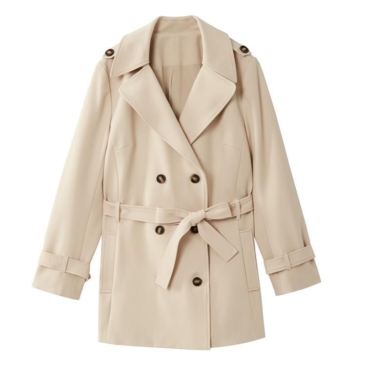 femminile solido il colore del cappotto doppio petto Turn-down Collar Windbreaker elegante Outwear 2020 Nuovo