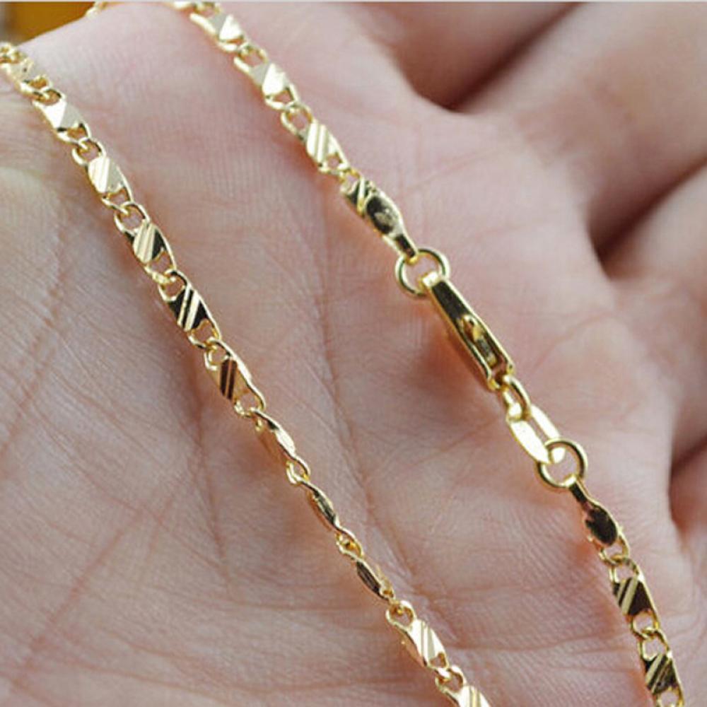 STF al por mayor de moda de los hombres de las mujeres de 16-30 pulgadas de la cadena del collar de 18 quilates de oro amarillo de la joyería Lleno Hombres Mujeres KKA6156
