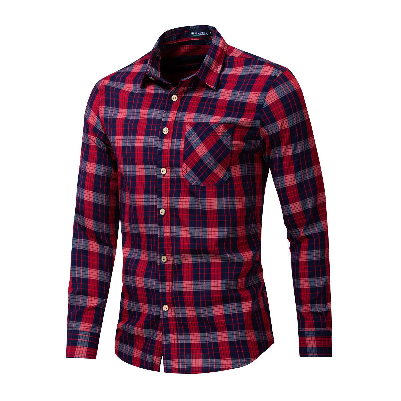 Fashion-New High-End-Marke Männer Baumwolle Langarm-Shirt Jugend Revers kariertes Hemd lose Größe Freizeithemd