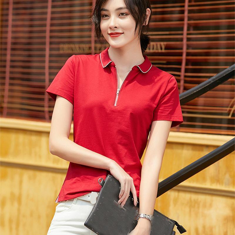 Hohe Qualität 2020 Sommer-Frauen Entwurf Polohemden beiläufige Baumwolle kurze Ärmel Reißverschluss Revers Dame T-Shirt Art und Weise dünne weibliche Oberseiten