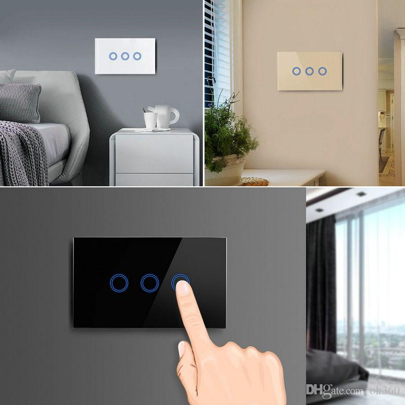 US/AU standard Wireless Remote Control Wall Light Switch White 1 2 3 Gang Glass Panel Smart Home Touch Switch