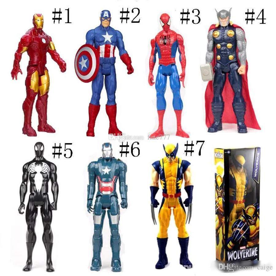 Die Rächer PVC Action-Figuren Marvel Heros 30cm Iron Man Captain America Ultron Wolverine Abbildung Spielwaren