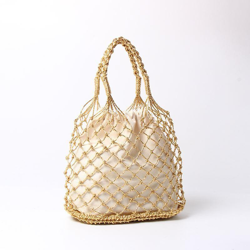 Gold Silver Black 3 Color Bright Paper Ropes Hollow Woven Bag Cotton Lining Straw Bag Female Reticulate Handbag Netted Beach Bag Y190620
