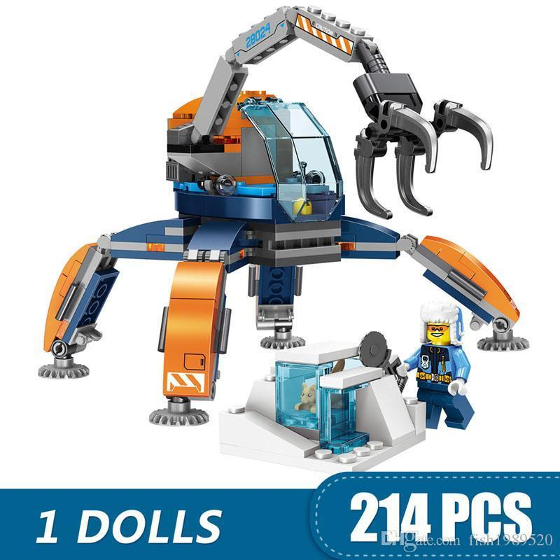 214PCS petits blocs de construction Jouets Compatible avec Legoing Ville Arcti Ice crawler cadeau pour les filles garçons enfants bricolage