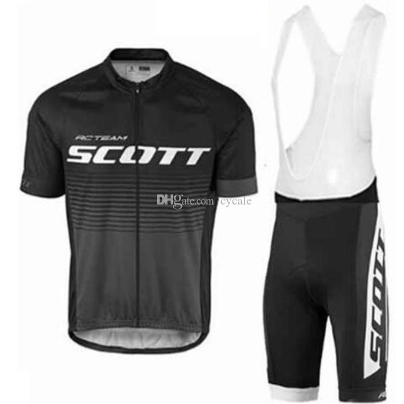 2019 SCOTT Pro Bike Team short sleeve Cycling Clothing Kit Men's Cycle Jersey and Cycling (Bib) Shorts Set Maillot Ropa Ciclismo