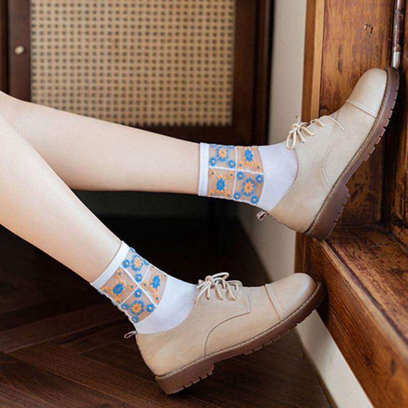 Details about  /Women Daisy Floral Patchwork Ankle Socks Transparent Mesh Jacquard Tube Hosiery