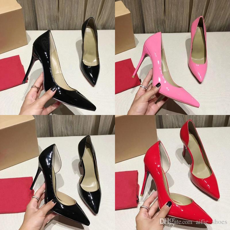 women red bottom pumps high heels shoes peep toe Stiletto dress shoes platform patent leather Party Sexy Wedding Dress Shoes