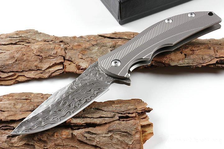 ZT Zero Tolerance 0606 ZT0606 VG10 Damasco manico del coltello flipper titanio coltello pieghevole natale coltello regalo per l'uomo 1pcs ADRU