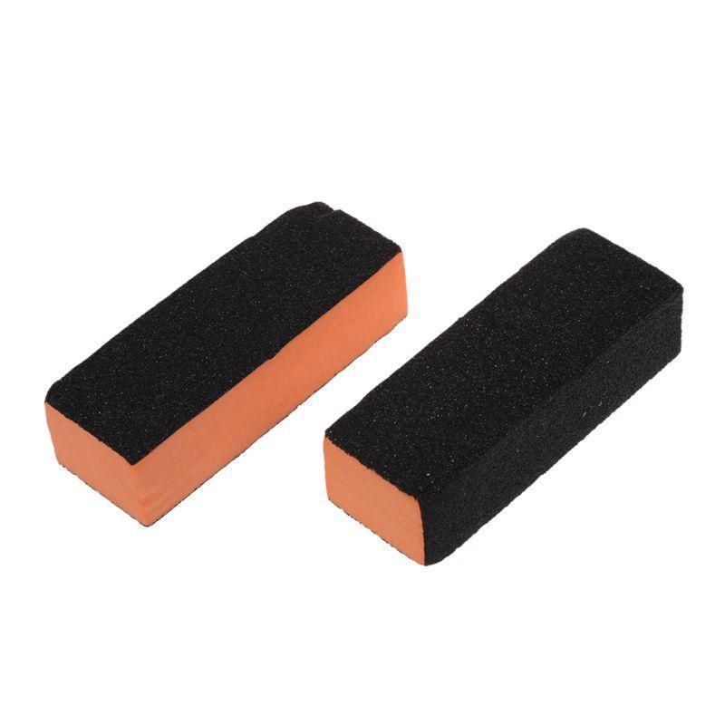 2 Pcs Noir Orange Rectangle 4 Way Shiner Tampon Ponçage Bloc Lime à ongles