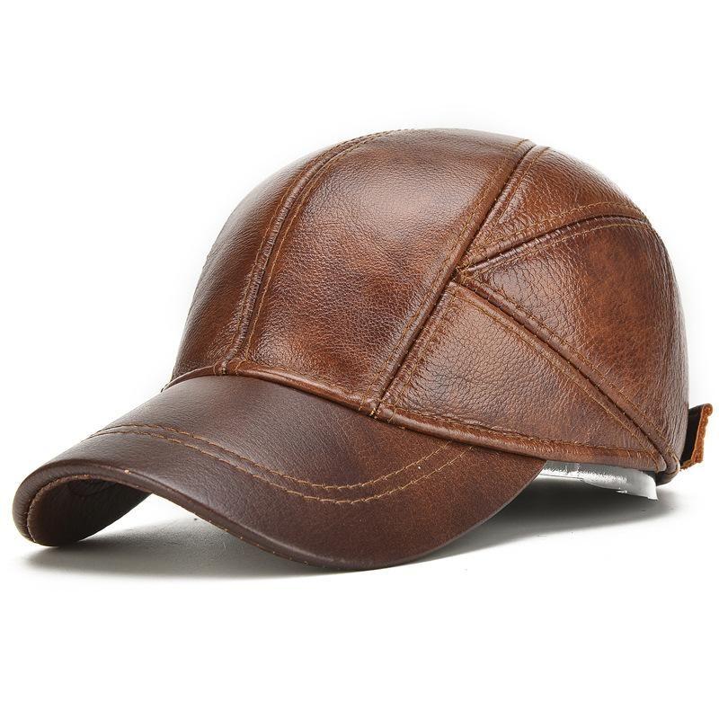 2018 جلد طبيعي جلد البقر قبعة بيسبول للرجل ذكر مع الأذن اللوحات الكلاسيكية العلامة التجارية الجديدة أسود / براون Gorras أبي الأزياء