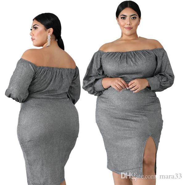 Women slash neck mini dresses plus size 2XL-6XL split sexy club solid color off shoulder long sleeve sheath column dance party dresses 2540