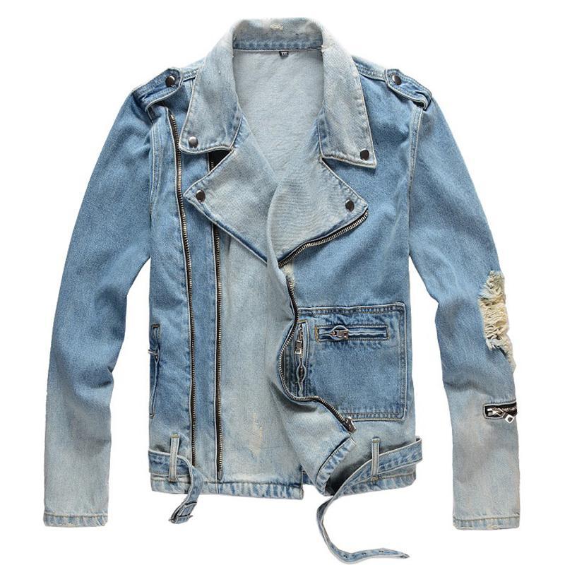 furos dos homens Sokotoo rasgado azul jaqueta jeans biker para a motocicleta zíperes Streetwear desligar gola do casaco denim Casacos