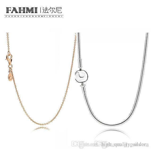 FAHMI 100% Argent 925 Collier en or rose de base Fit bricolage pendentif femme exquise mode originale de bijoux cadeau en gros
