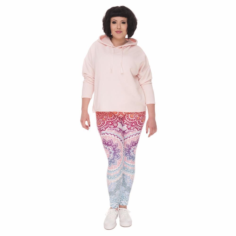 New Plus Size Mulheres Leggings Aztec Rodada Ombre Impressão estiramento cintura alta Tamanho Grande Calças Calças para Plump Mulheres de Slim