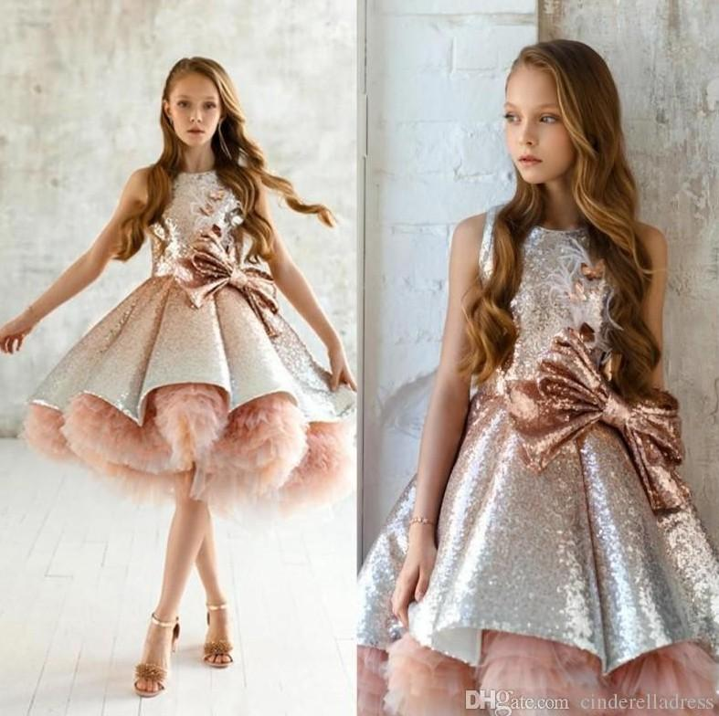 2020 New Shiny Sequins Flower Girls Dresses Sleeveless Tulle Tiered TuTu Girls Pageant Gowns Gorgeous Puffy Birthday Dresses