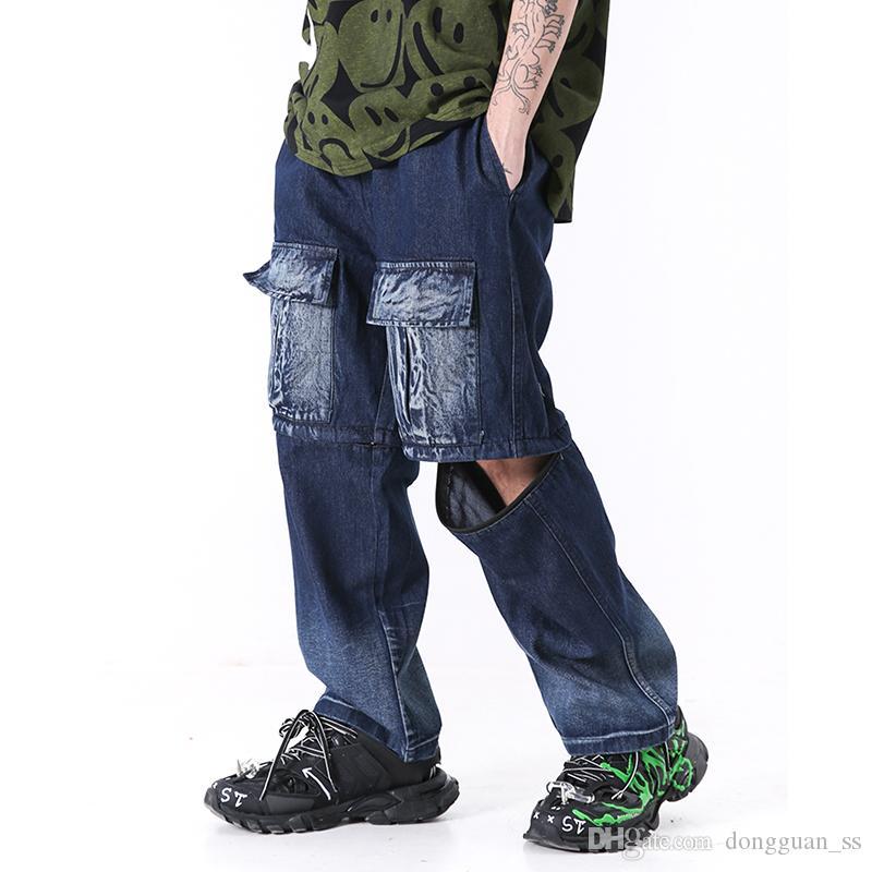 Compre High Street Hip Hop Bolsillos Lavados Pantalones De Mezclilla Para Hombre Flojos Desmontaje De Doble Uso Pantalones Rectos De Cinco Puntos Short Jeans Pantalones A 32 15 Del Dongguan Ss Dhgate Com