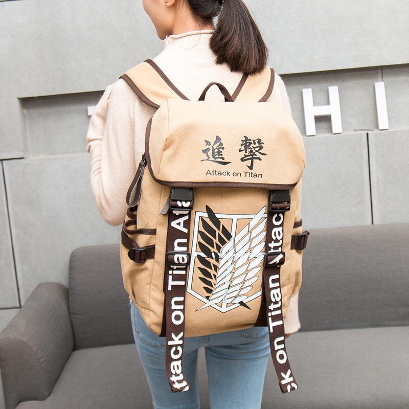 Anime Ataque Backpack em Titã Anime Cosplay Eren saco de lona dos desenhos animados Mochila Shingeki há Ombros Kyojin mochila Malas de Viagem CJ191201