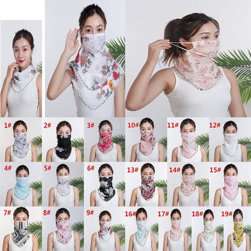 Frauen-Schal-Gesichtsmaske Chiffon Handkerchief windundurchlässiges Half Face Staubdicht Sonnenschutz Masken Staubmaske Partei Masken DA579