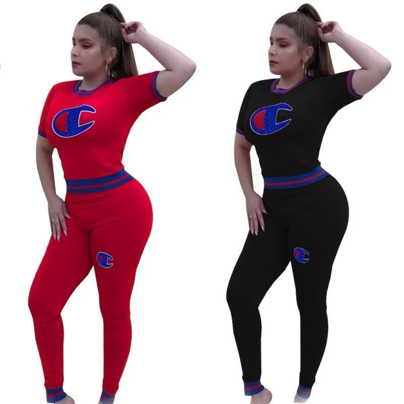 2020 Frauen Champion Kurzarm Sommer Outfits Patchwork Farbabstimmung Trainingsanzug 2 Stück Sportbekleidung Casual Straße Jogger Anzug P9766