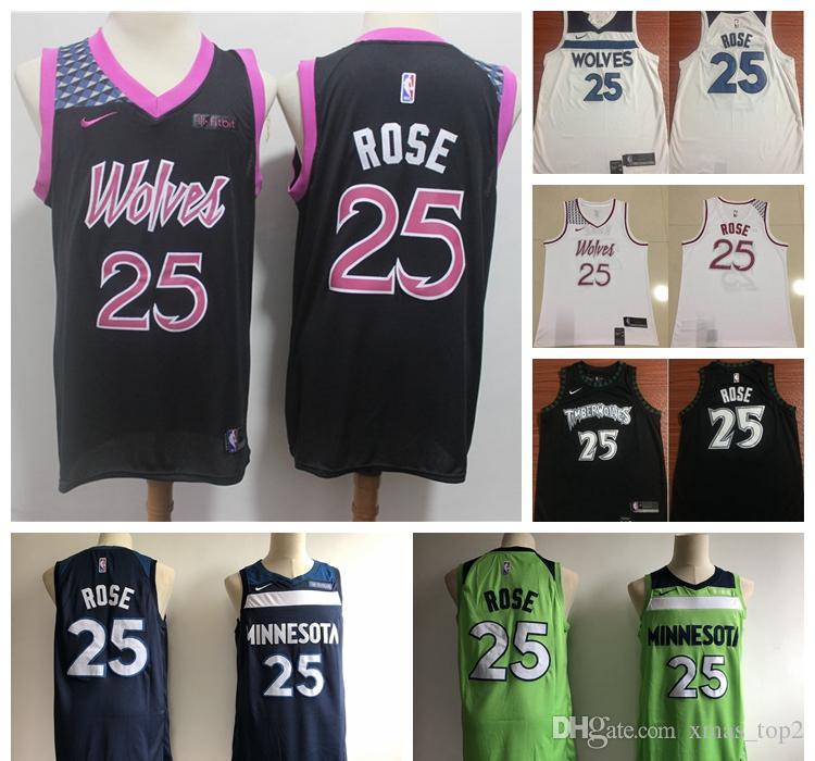 promo code 17afe ffe96 2019 New City Jerseys 25 Rose Timberwolves Basketball Jerseys Stitched  White Blue Black Timberwolves Rose Basketball Shorts Party Shirts Awesome  ...