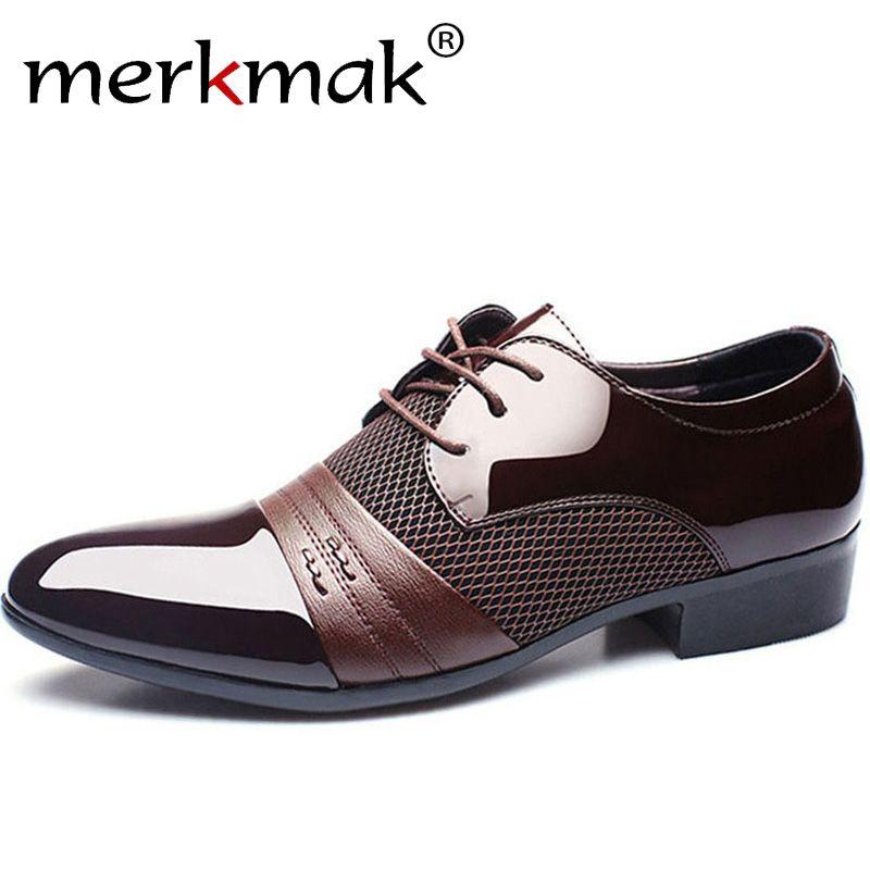 Merkmak homens sapatos de couro oxford homens de couro pu sapatos de negócios sapatos baixos dos homens respirável banquete casamento 48