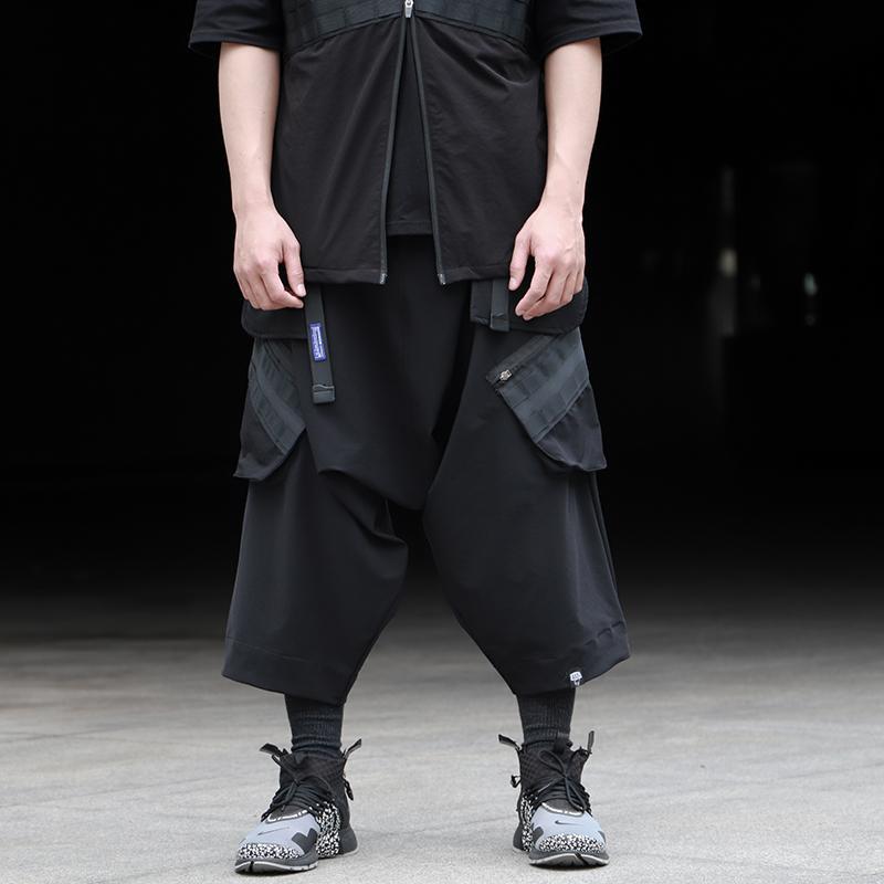 WHYWORKS techwear pantaloni da uomo capris cadono pantaloni cavallo tre quarti stile bicchierini del carico hip hop