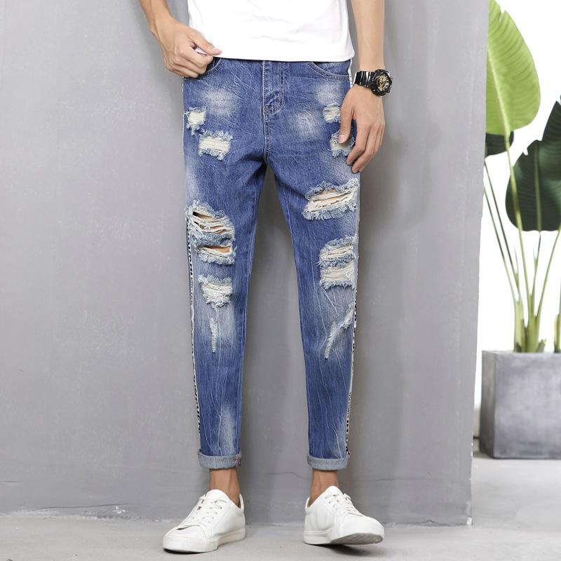 Новые мужские джинсы удобные повседневные хлопчатобумажные штаны модного цвета со сломанными ногами