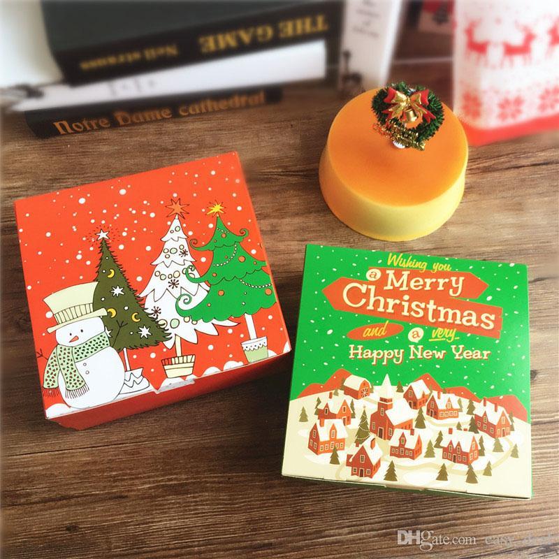 Kutu Tatlı Kek Kutusu ZC1620 Packaging Noel ağacı Kardan Adam Tasarımı Kağıt Kutu Kurabiye Macaron Çikolata Partisi DIY hediyeler