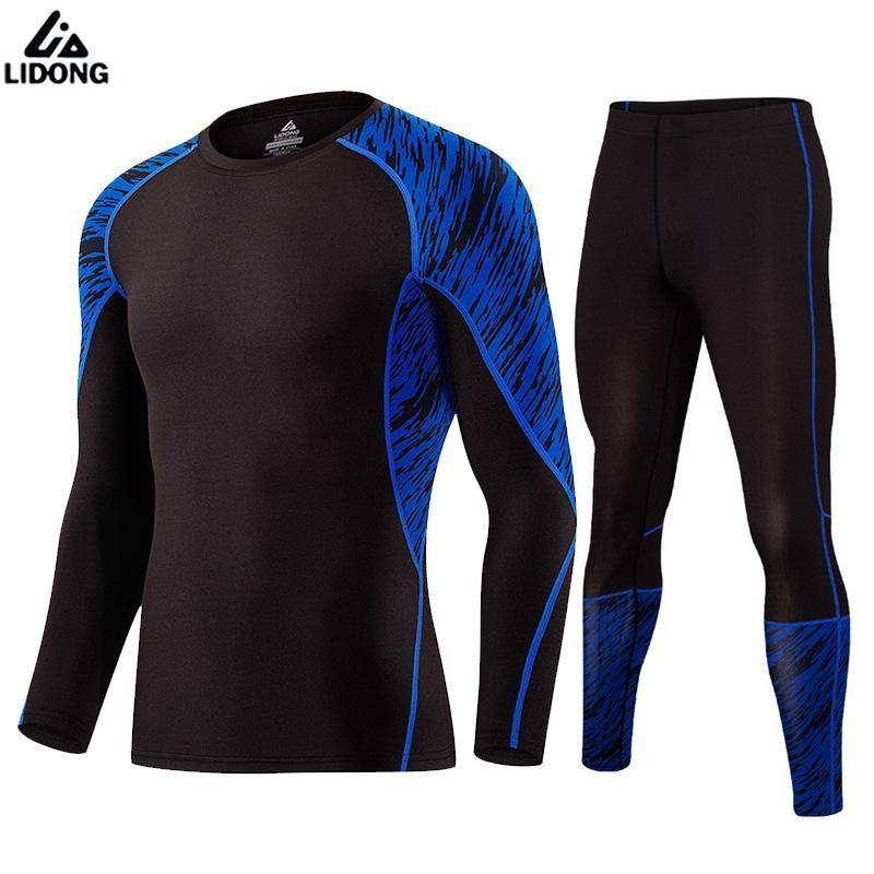 Toptan-2017 Lidong Yeni Erkekler Sportwear Suits Sıkıştırma Uzun Tayt İç Spor Salonu Koşu Topu Spor Eğitim Suit Setleri Koşu