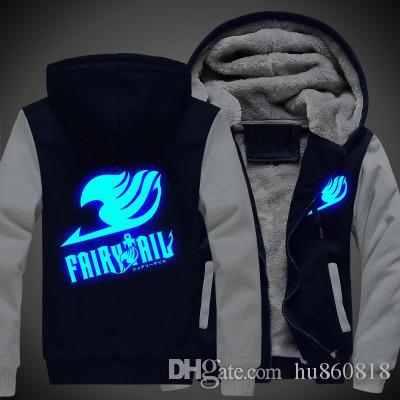 New Anime Winter Coat Fairy Tail Thicken Jacket Sweatshirts Hoodie Luminous Unisex Clothing coat USA Size Anime Winter Coat