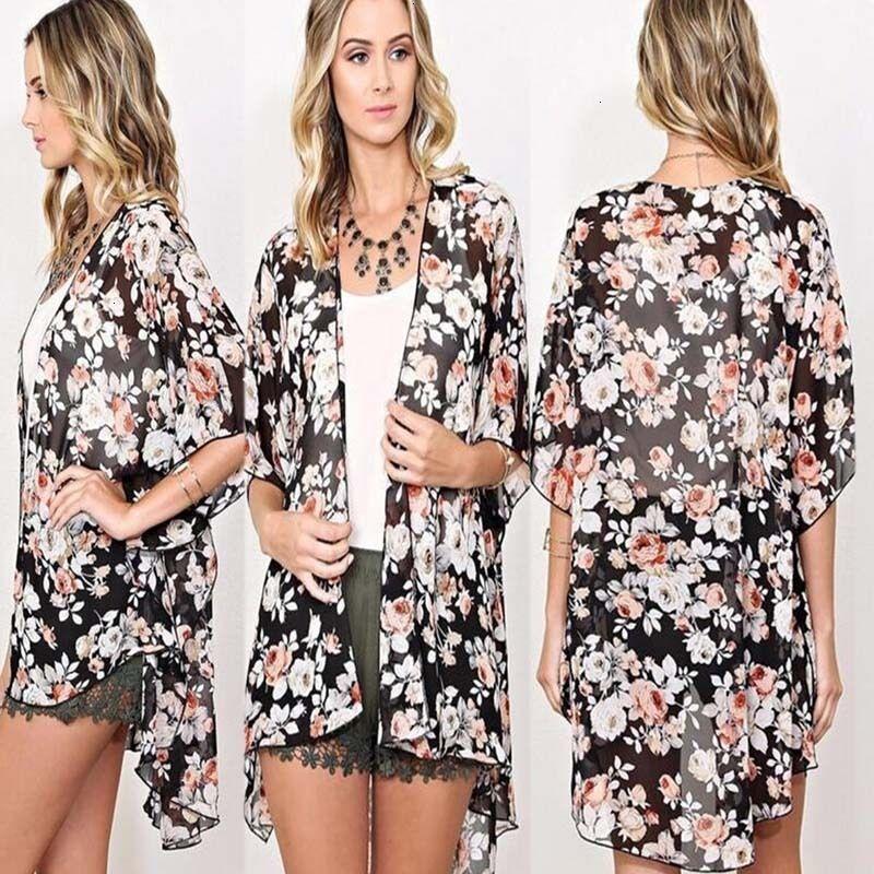 Womens Tops Blusa Mulher Mulheres Sexy Flower Blusas Verão Kimono Cardigan Maxi shirts Half sunsuits Verão luva Outfits Boa Qualidade