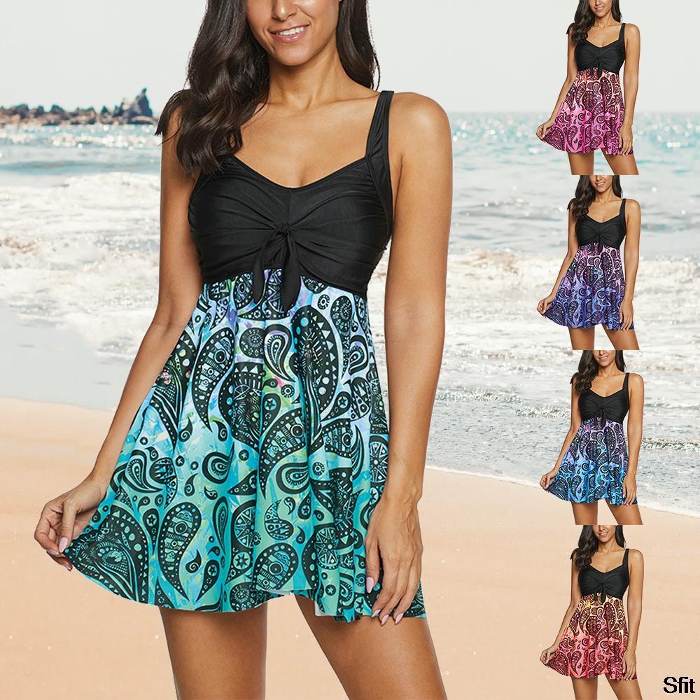 Spahetti Bracelet manches Bikini Patchwork lâche noeud Natation Wear 2020 Mode régulier Imprimer Swimwuit Femme Bikini